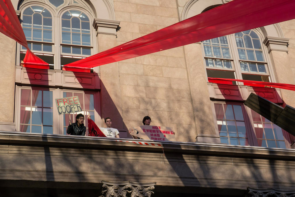 Architecture student, Vincent Hui and others protesting tuition at the Cooper Union