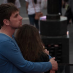 couple hugging times square