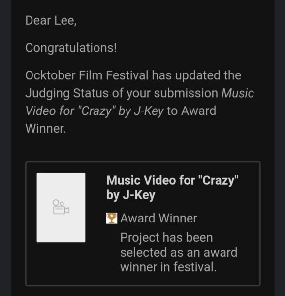 Film Freeway Award Win Notification