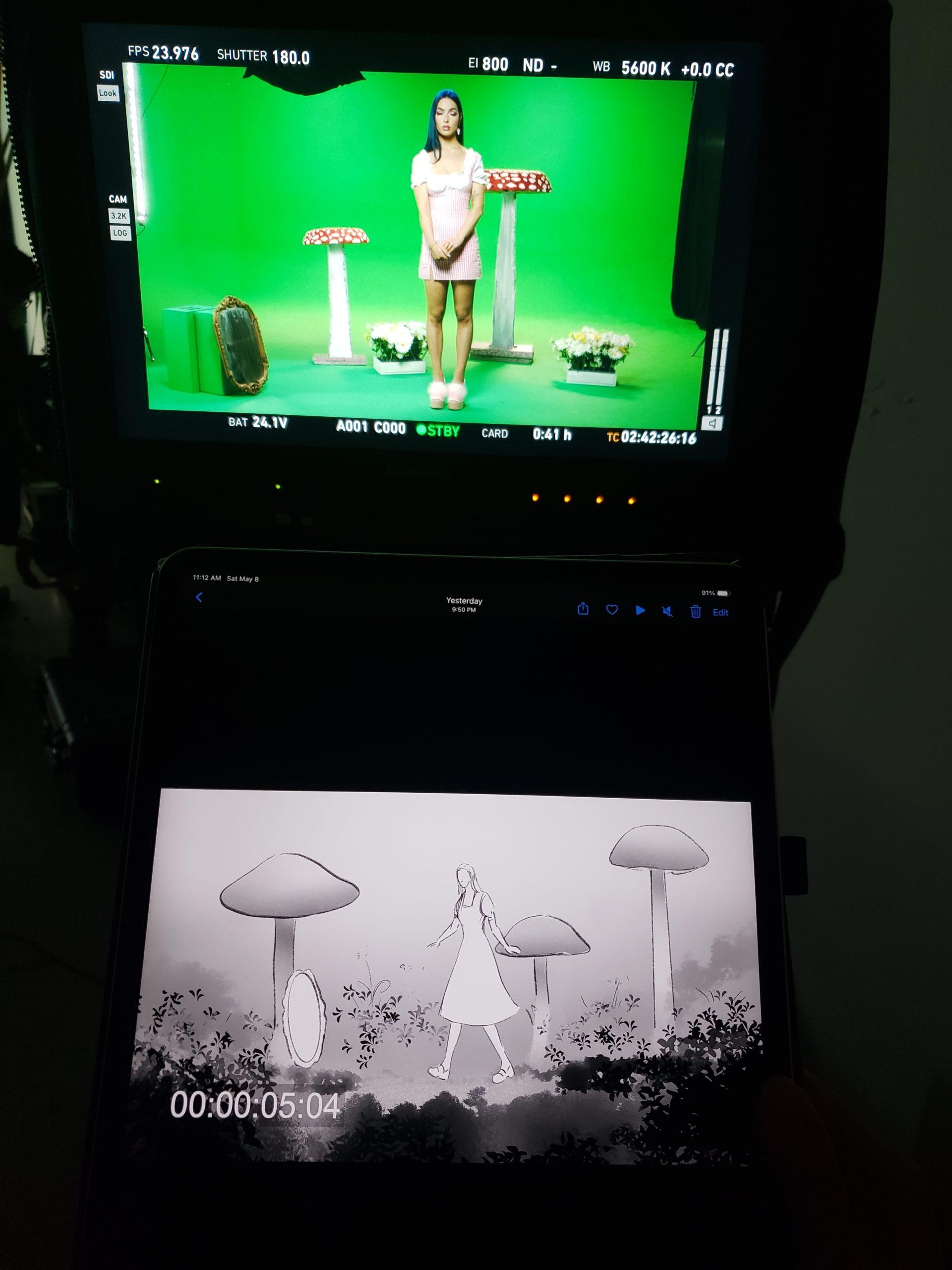 Animatic playback on set greenscreen
