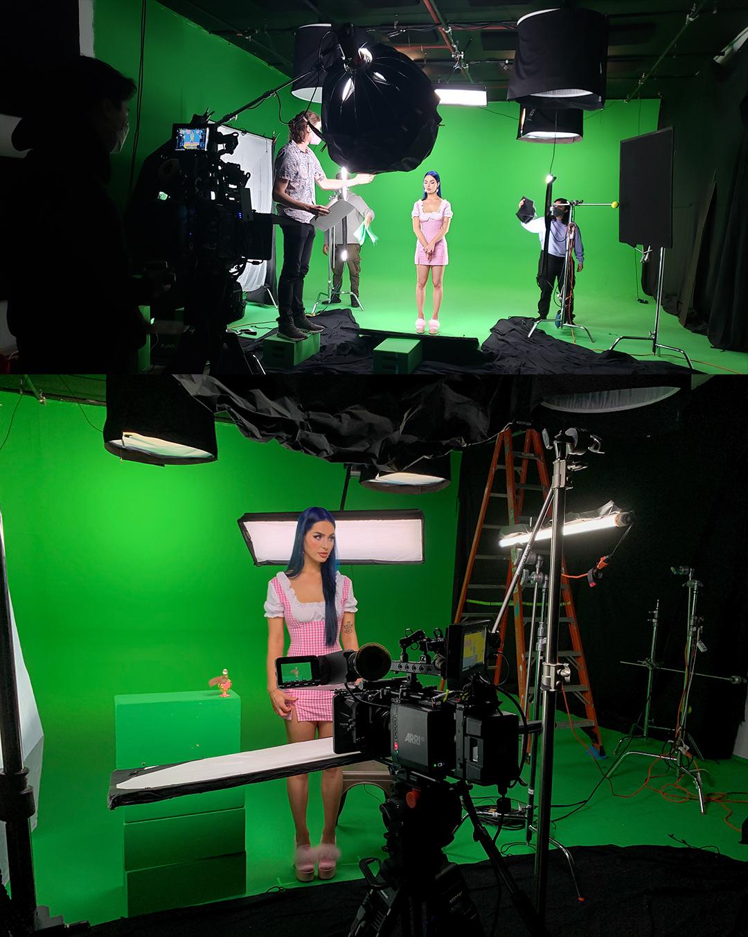 behind the scenes on set greenscreen studio shoot nyc