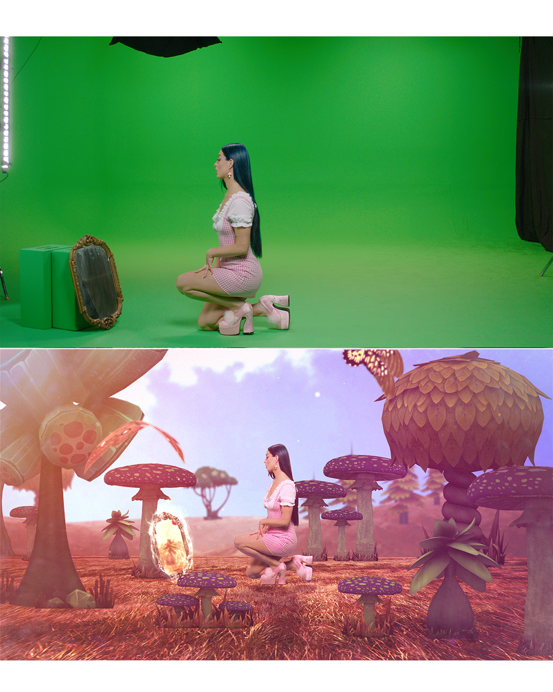 greenscreen comparison on set before and after