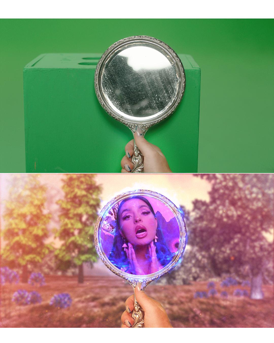 mirror greenscreen comparison music video VFX